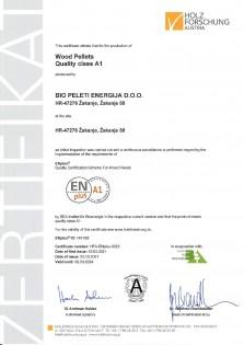 ENplus A1 certifikat